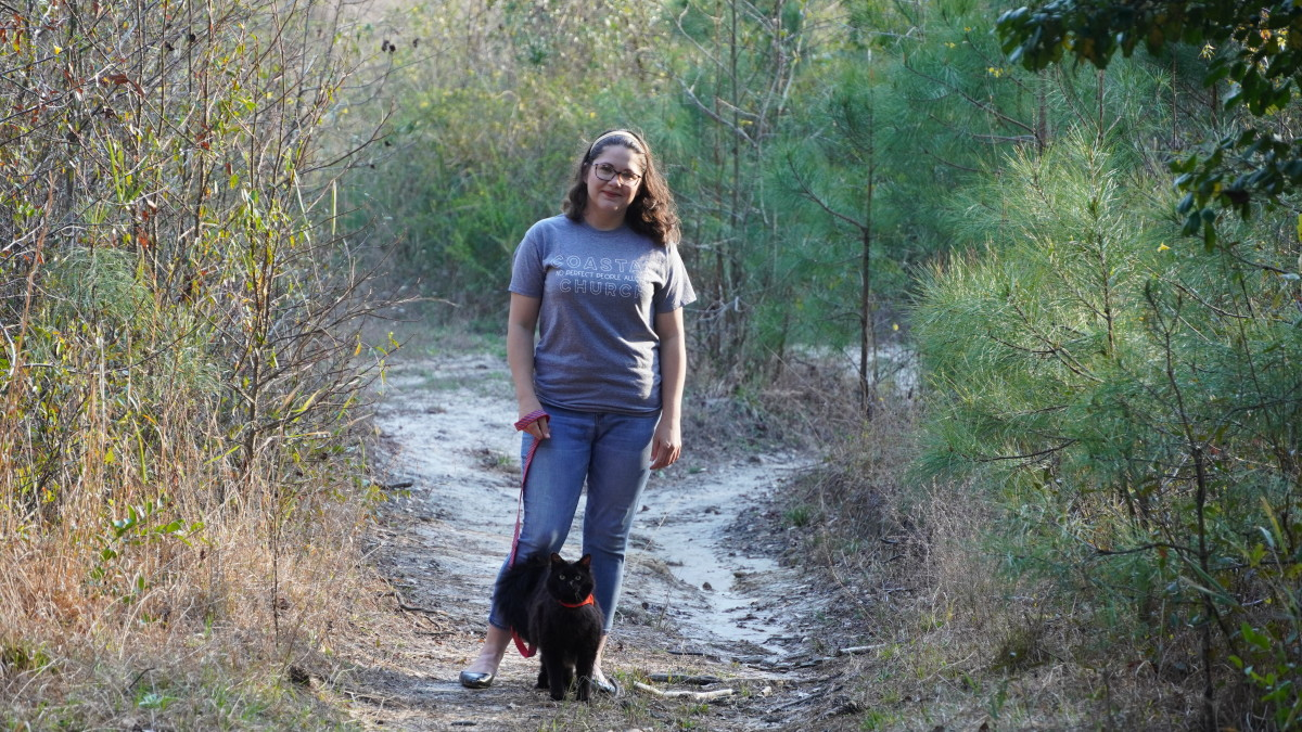 Here I am walking my indoor cat, Layla, in the woods. I started training her when she was almost 9-years-old.