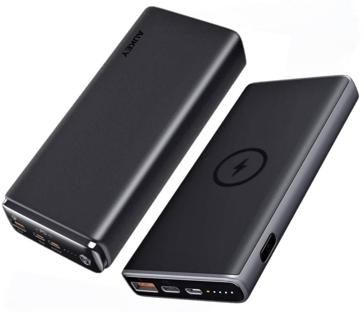 Aukey 26800mAh Universal Power Bank (left) - Aukey 10000mAh Wireless Charging Power Bank (right)