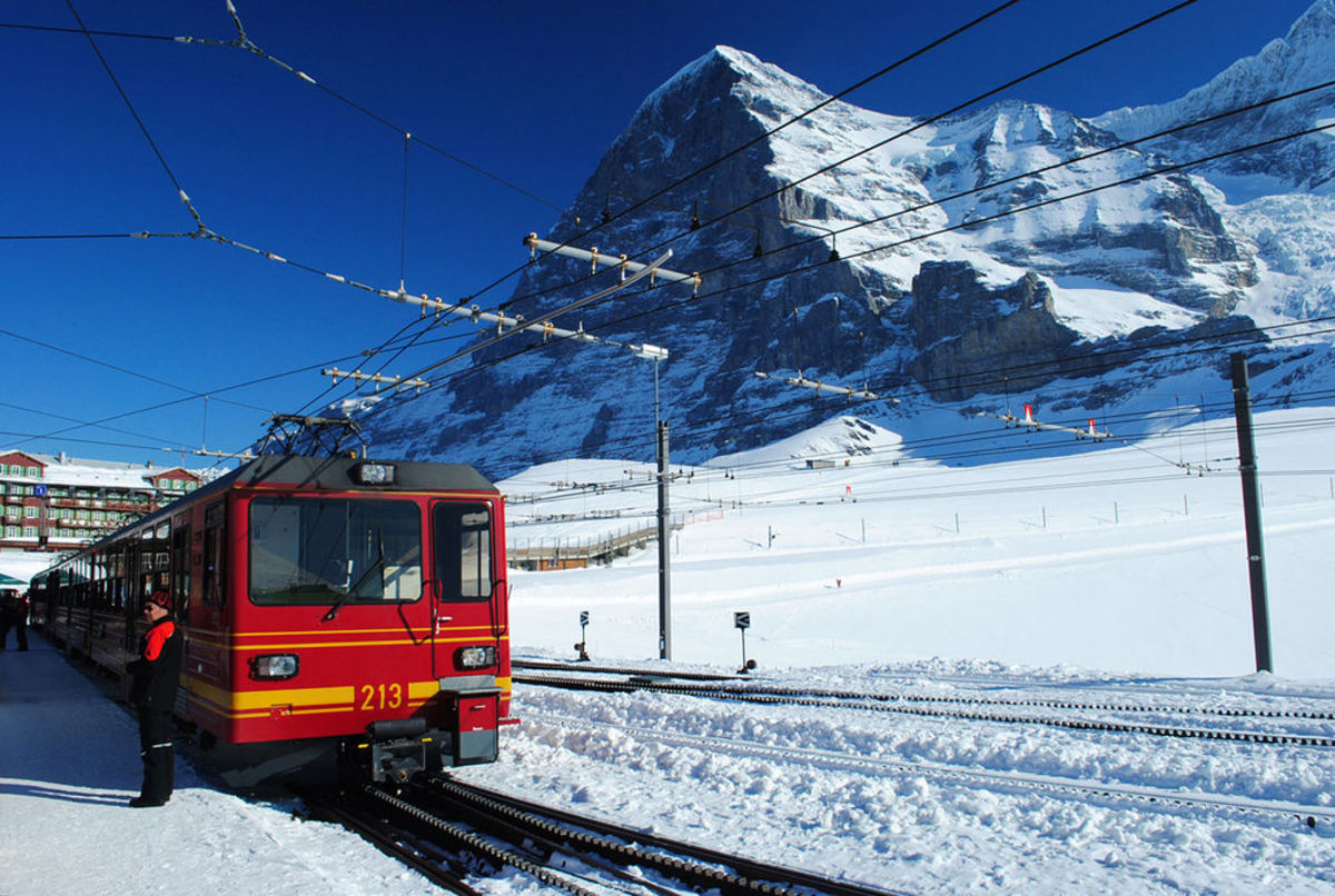 Kleine Scheidegg Station with the North Face of the Eiger in the background