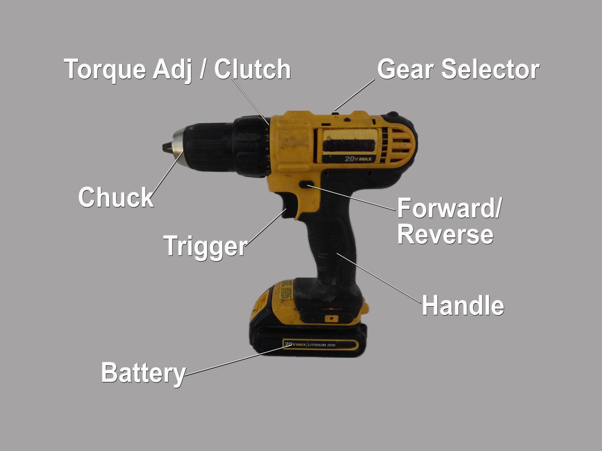 Basic parts of a battery drill.