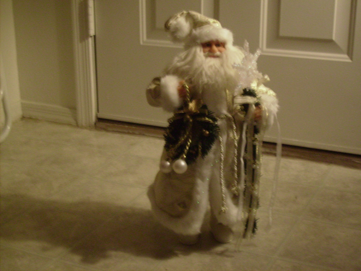 A Santa Claus Dressed in White