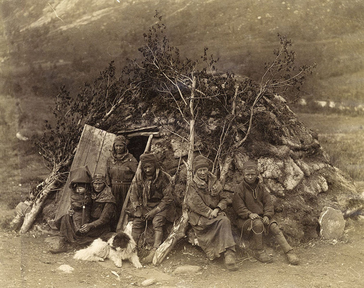 A Sami family of the 1870s, part of related indigenous peoples around Sub-Arctic lands.