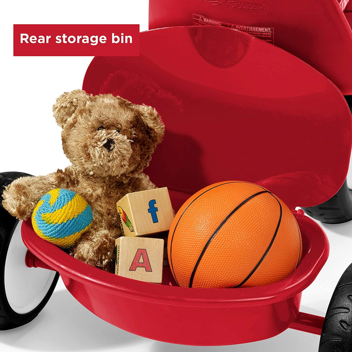 The rear, covered storage bin allows your child to take toys with him on the go!