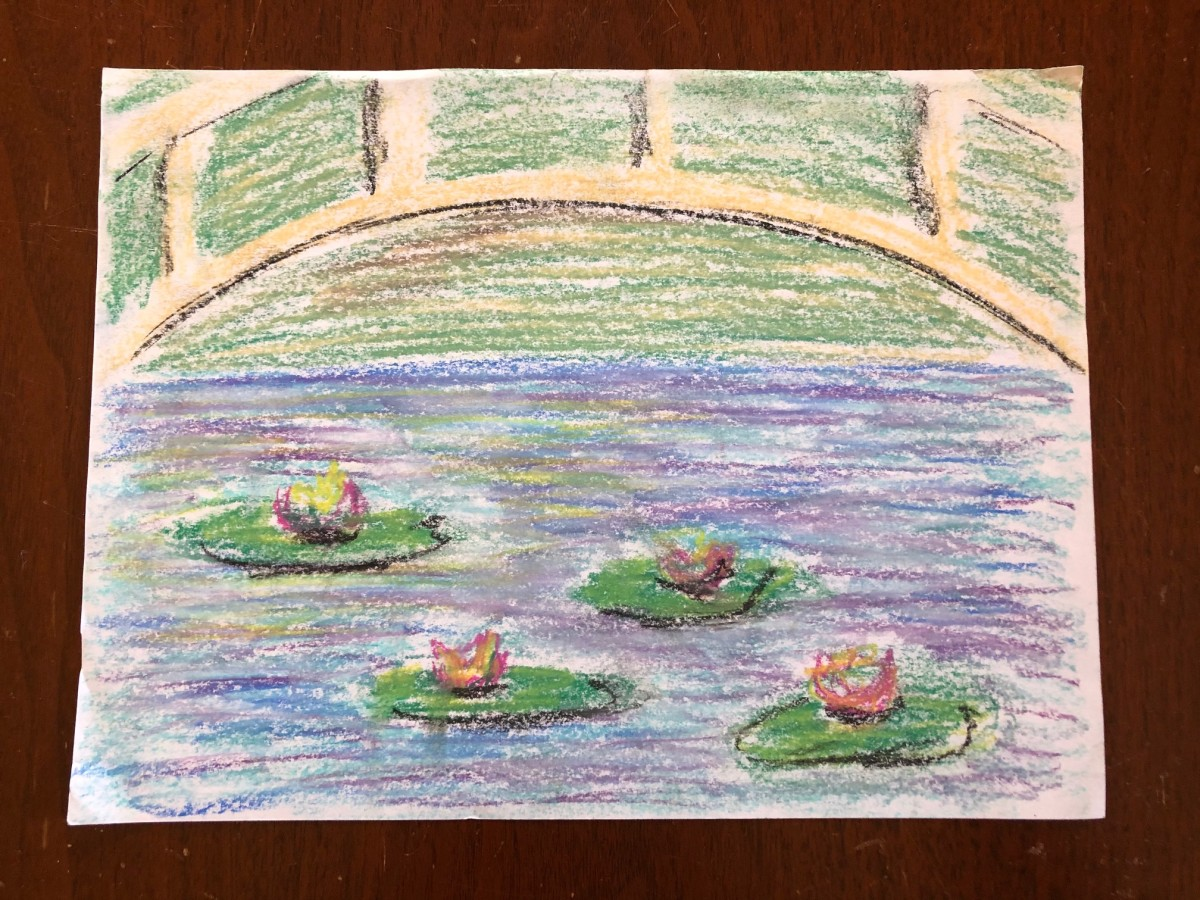 Chalk pastel bridge and water lilies.