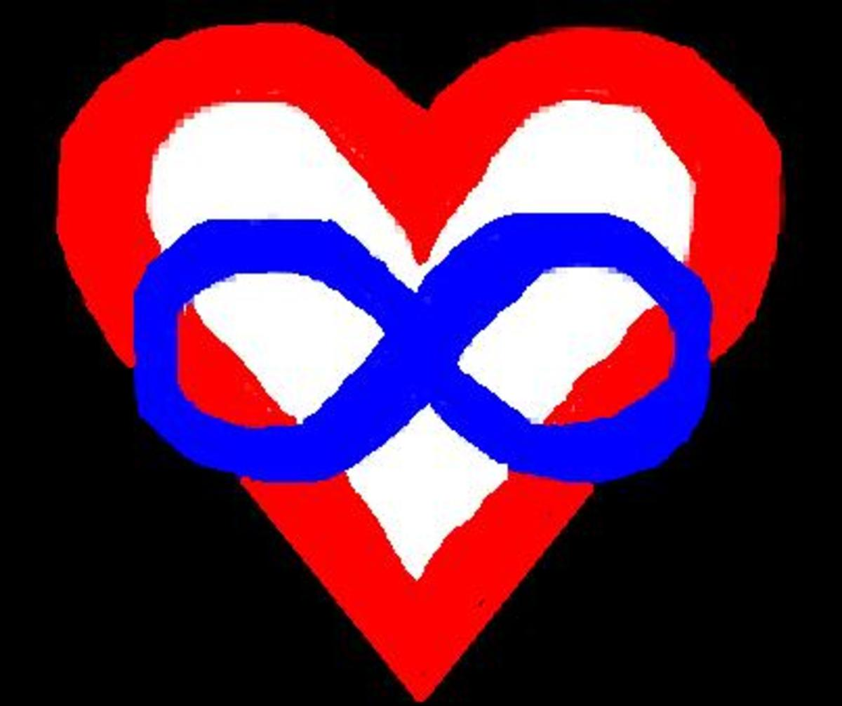 Polyamory Symbol - A blue [loyalty & honesty] infinity symbol superimposed over a red heart on a black [solidarity] background