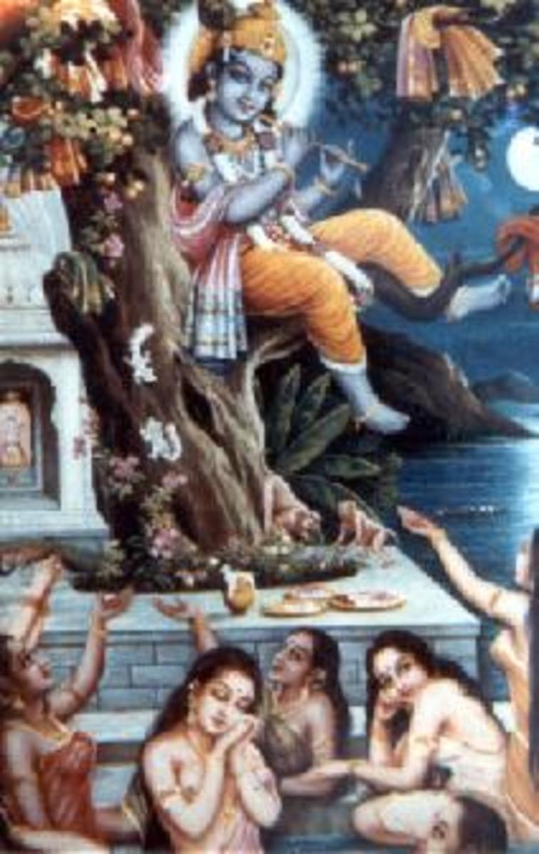 Hindu Art - Krishna and the gopis (shepardesses)