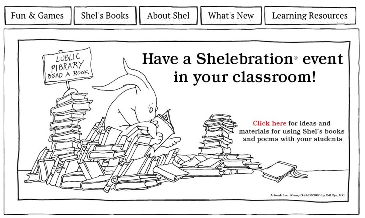 It's so Shel! Enjoy some goofy poetry fun, Shel Silverstein–style, on the author's website.