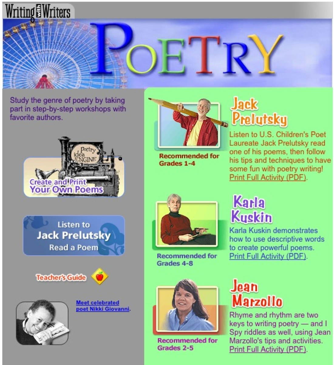 The Writing With Writers site provides lesson unit resources for poetry writing and online publication.
