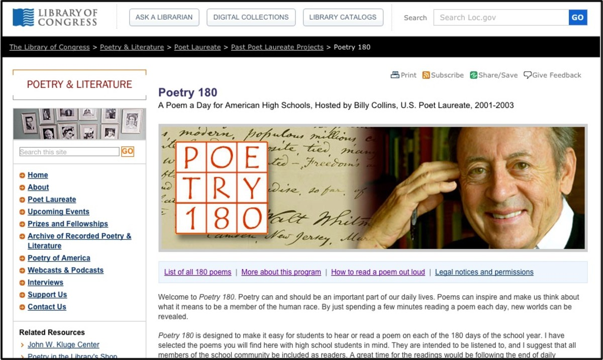 A screenshot of Poetry 180. This site provides a poem a day for high school students.