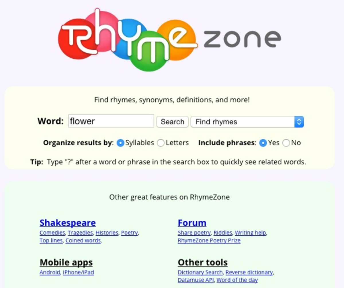 Find a rhyme in time! You can search for rhyming words (and much more) in the Rhyming Dictionary.