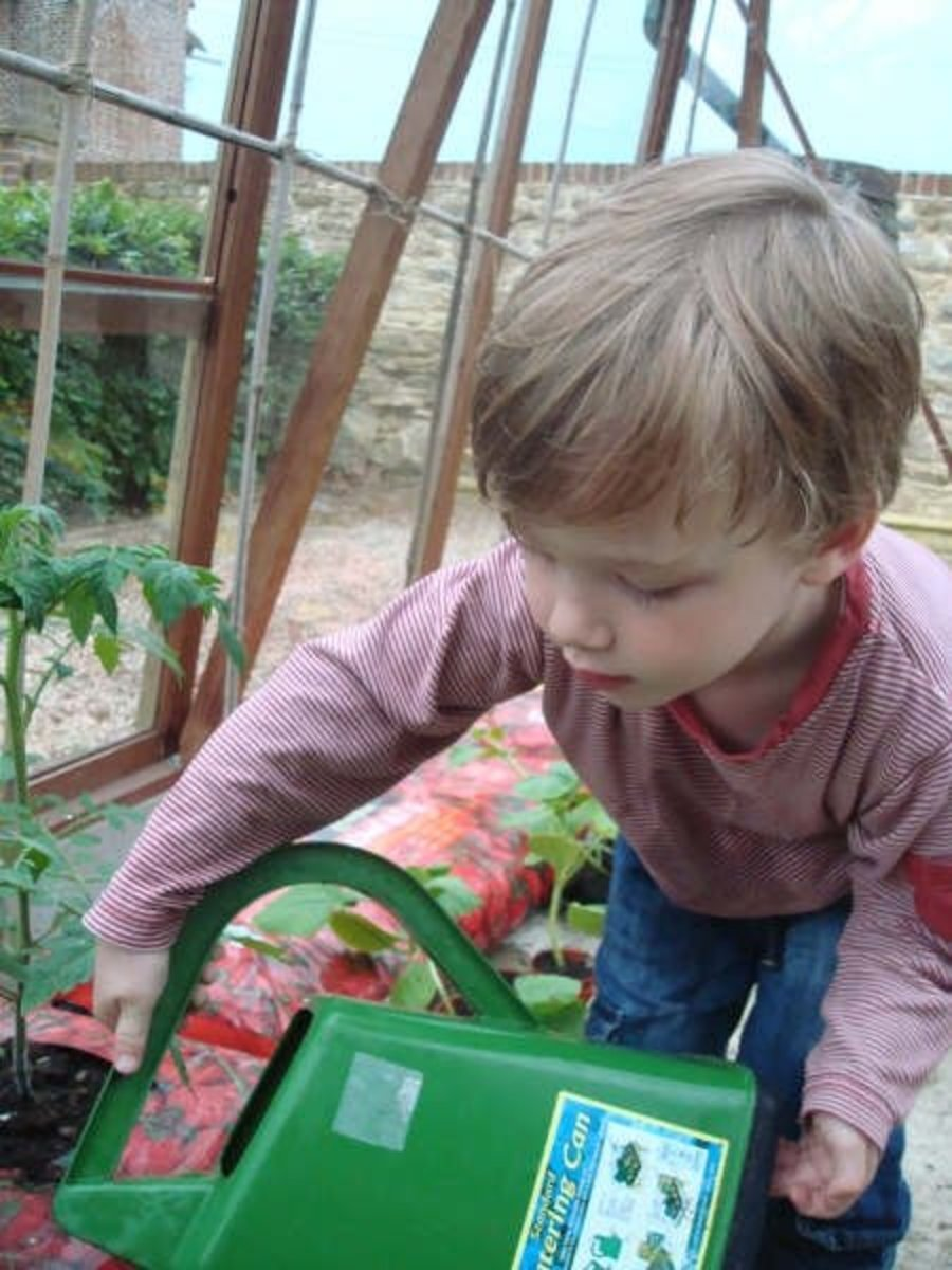 """""""Helping"""" his grandmother in the greenhouse."""