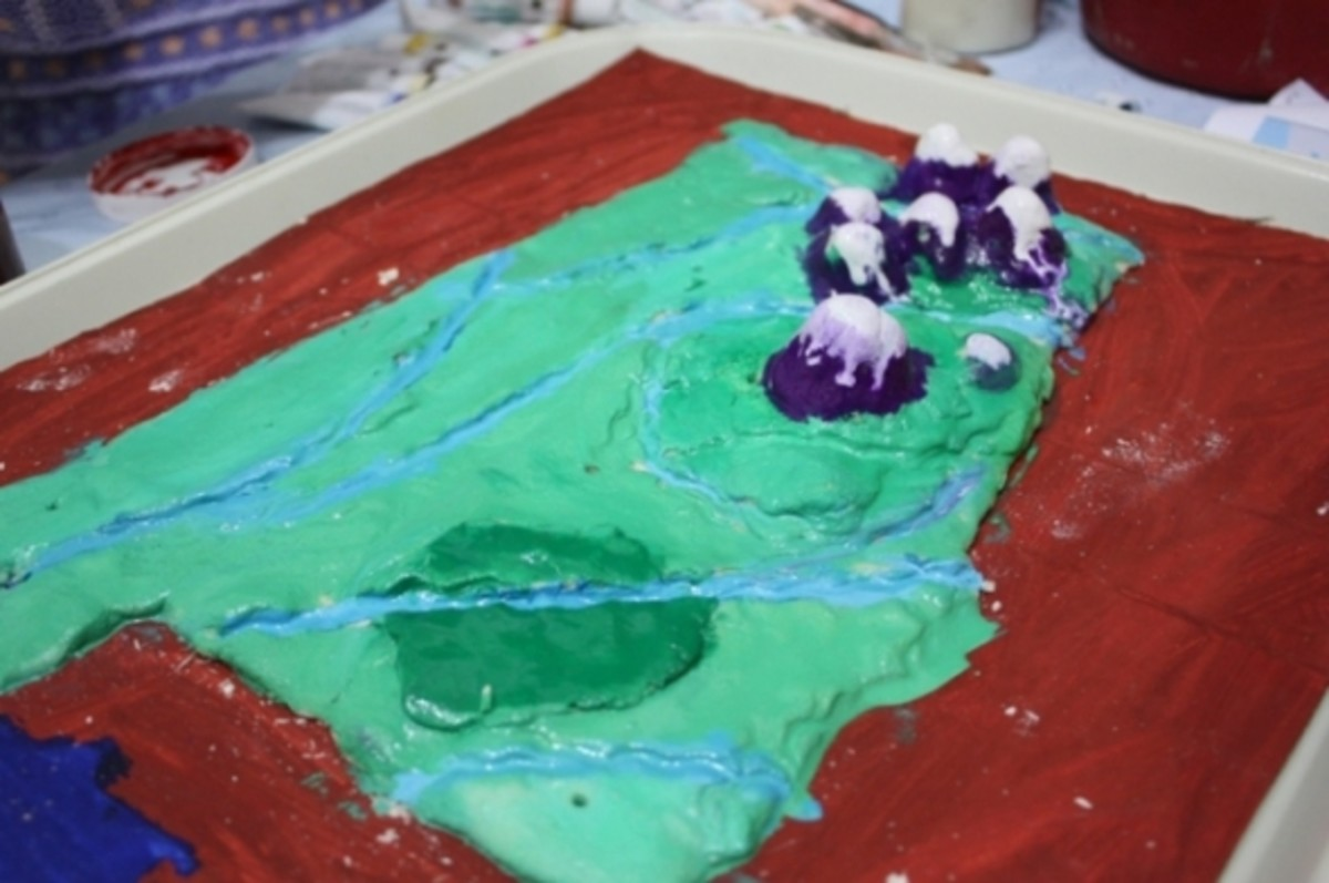 salt dough map painted
