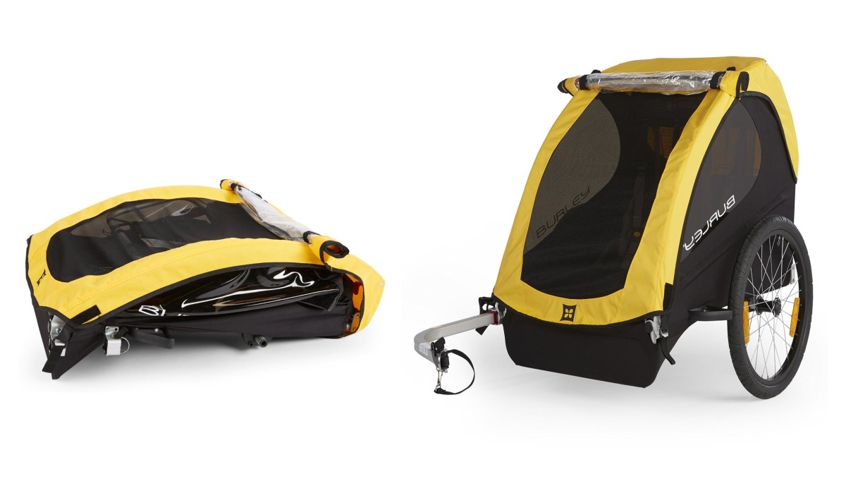 The Burley Bee folds down for storage or transportation.