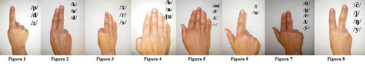 Cued speech uses different hand shapes to represent phonemes.