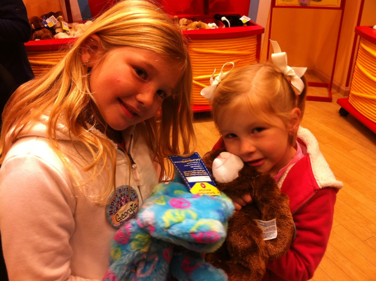 Our Girls with their Peace Bear and Bunny