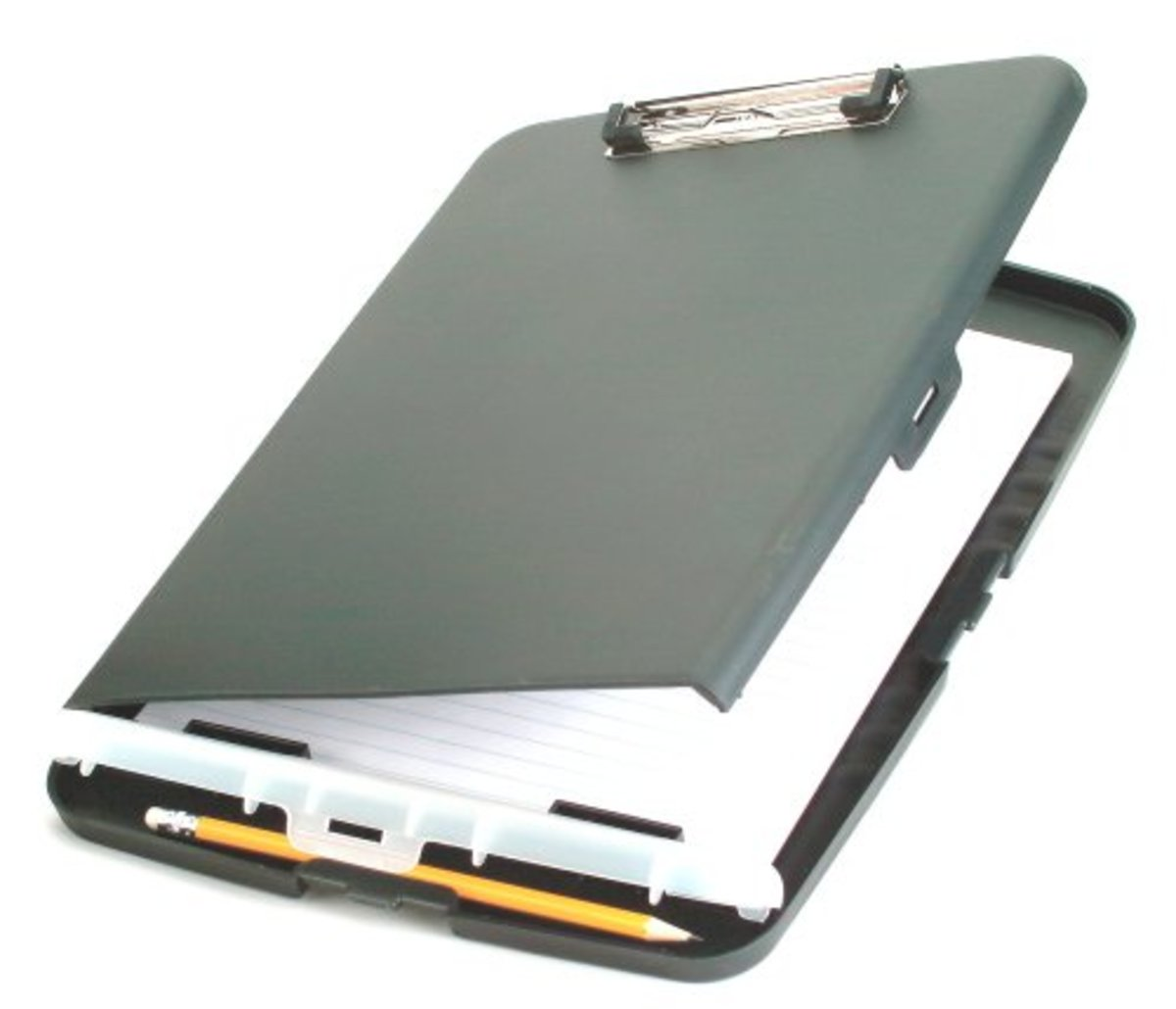 When open, this clipboard holds papers, brochures, or maps.