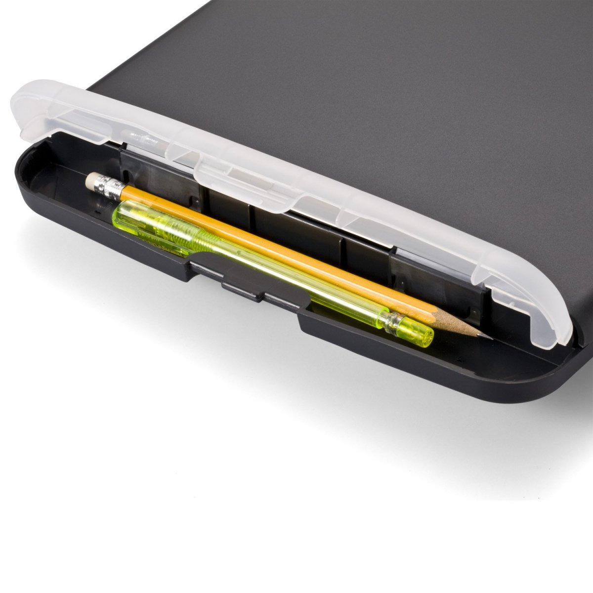 A special slot holds pens or pencils.