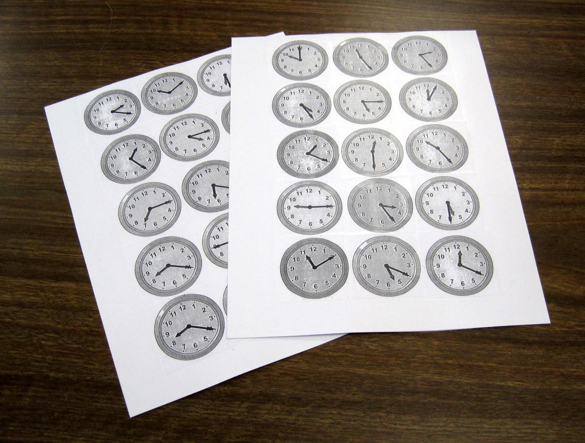 Time bingo cards.
