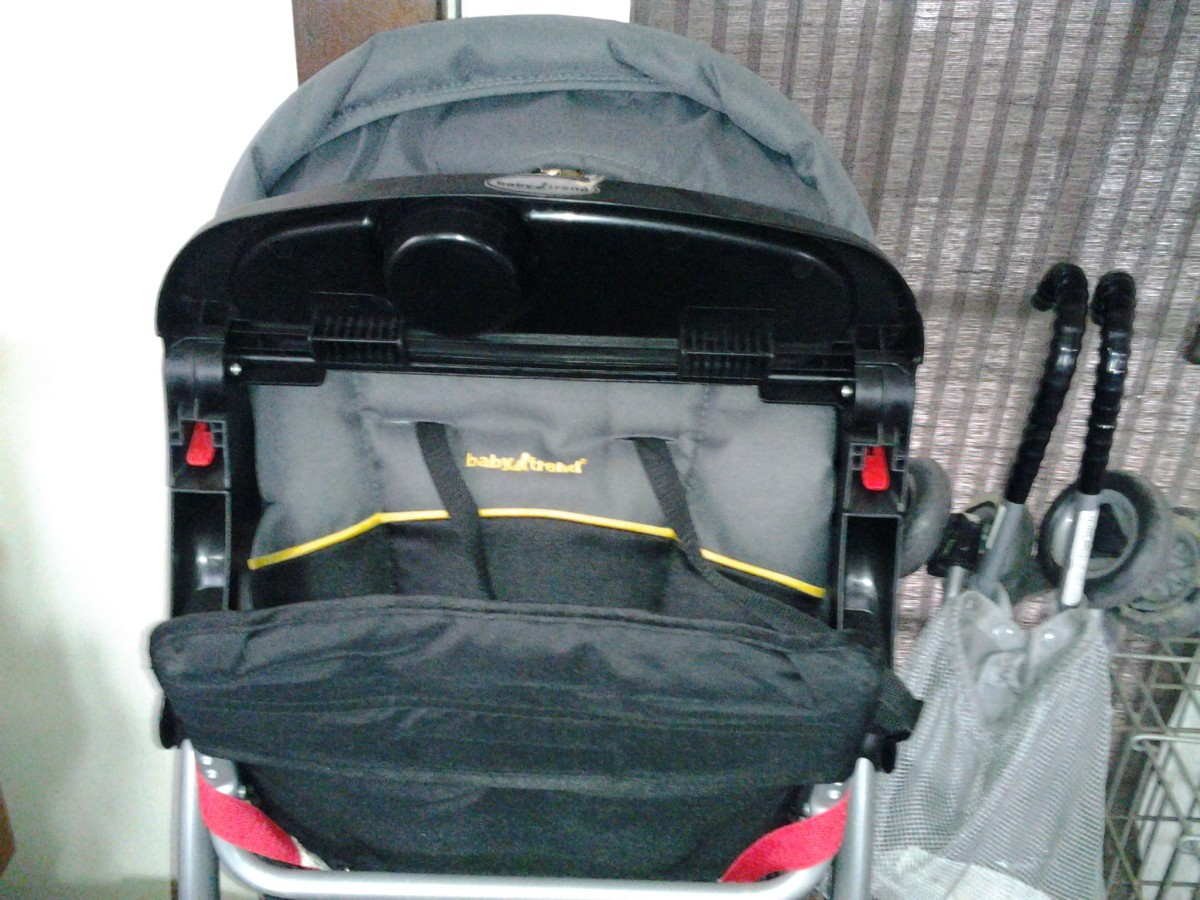 When closed, stroller stands nicely on its own and can easily be placed in a closet space.