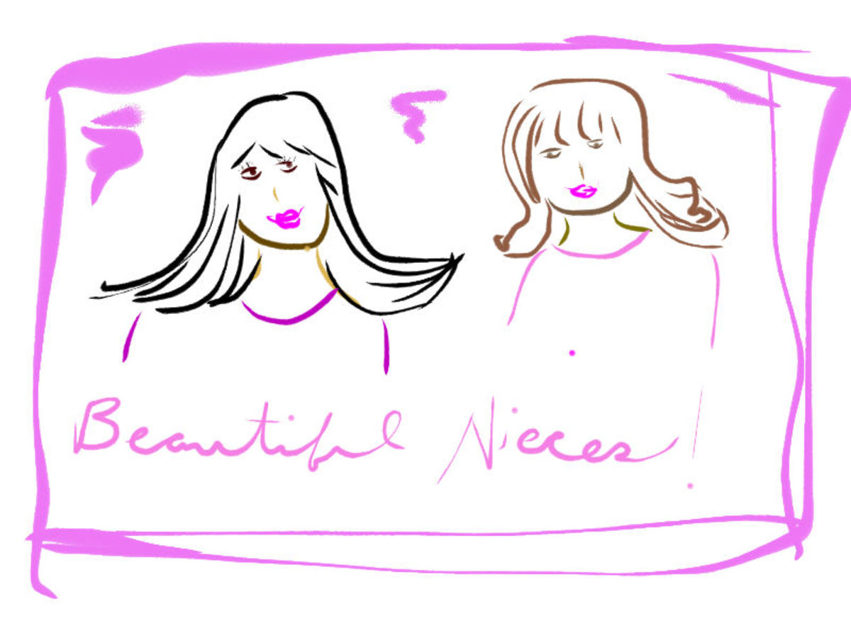 My two beautiful nieces -- a drawing.