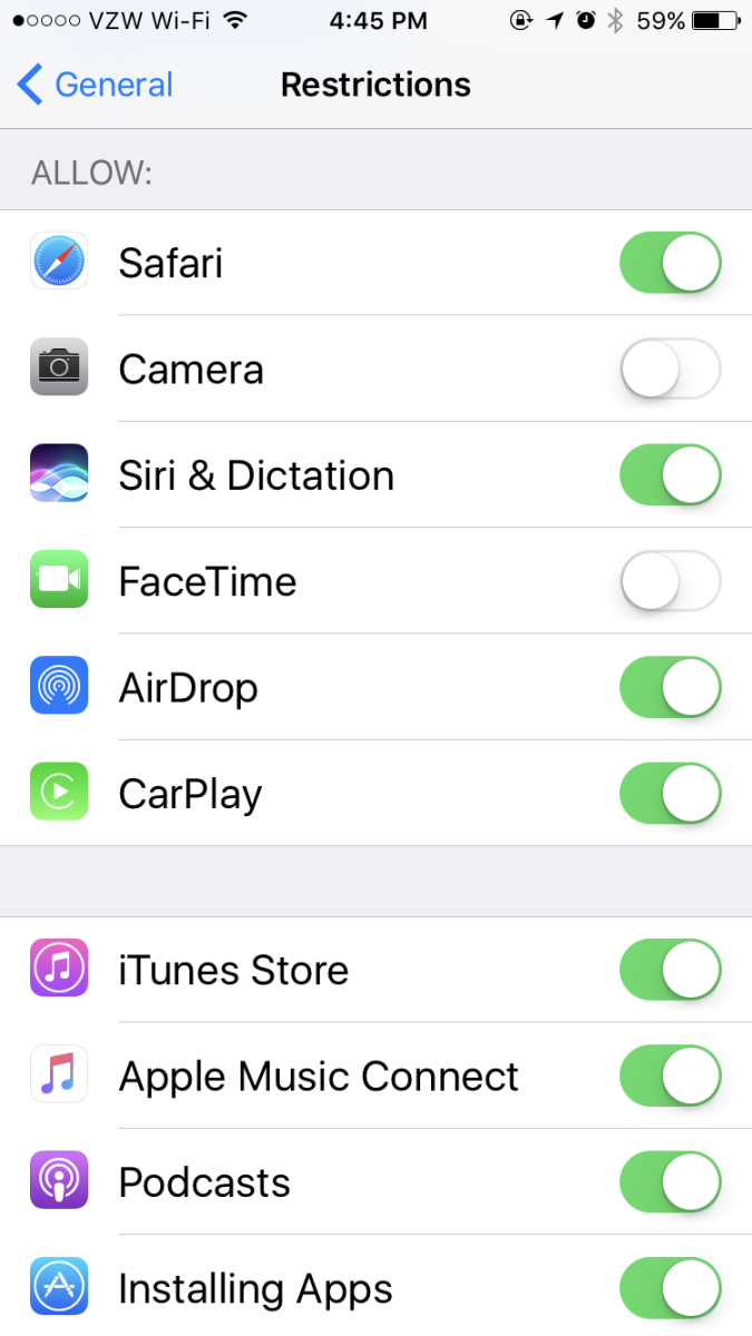 Here's a screenshot of what the parental restrictions screen looks like on an iPhone.