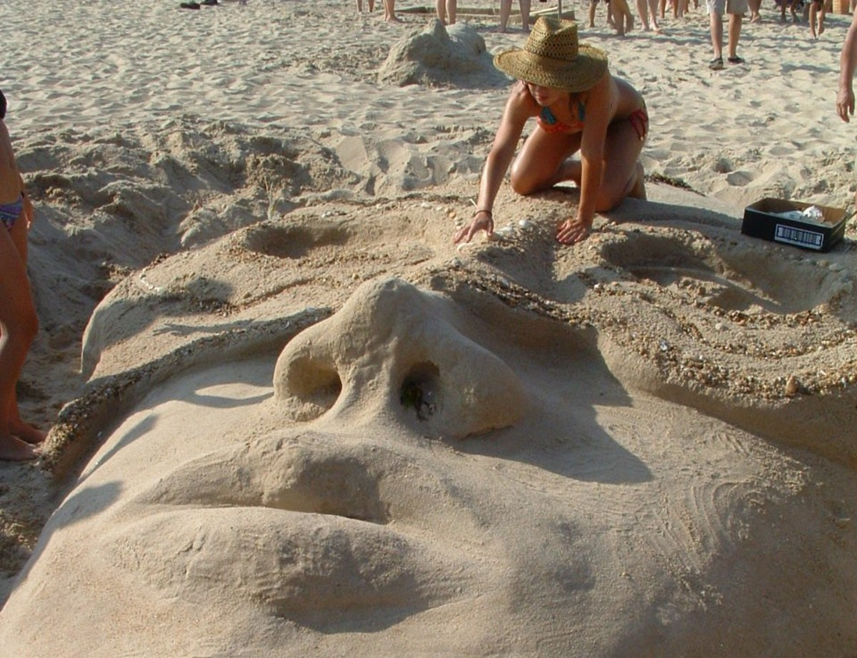 Woman Sculpting Face at Rehoboth Beach Competition