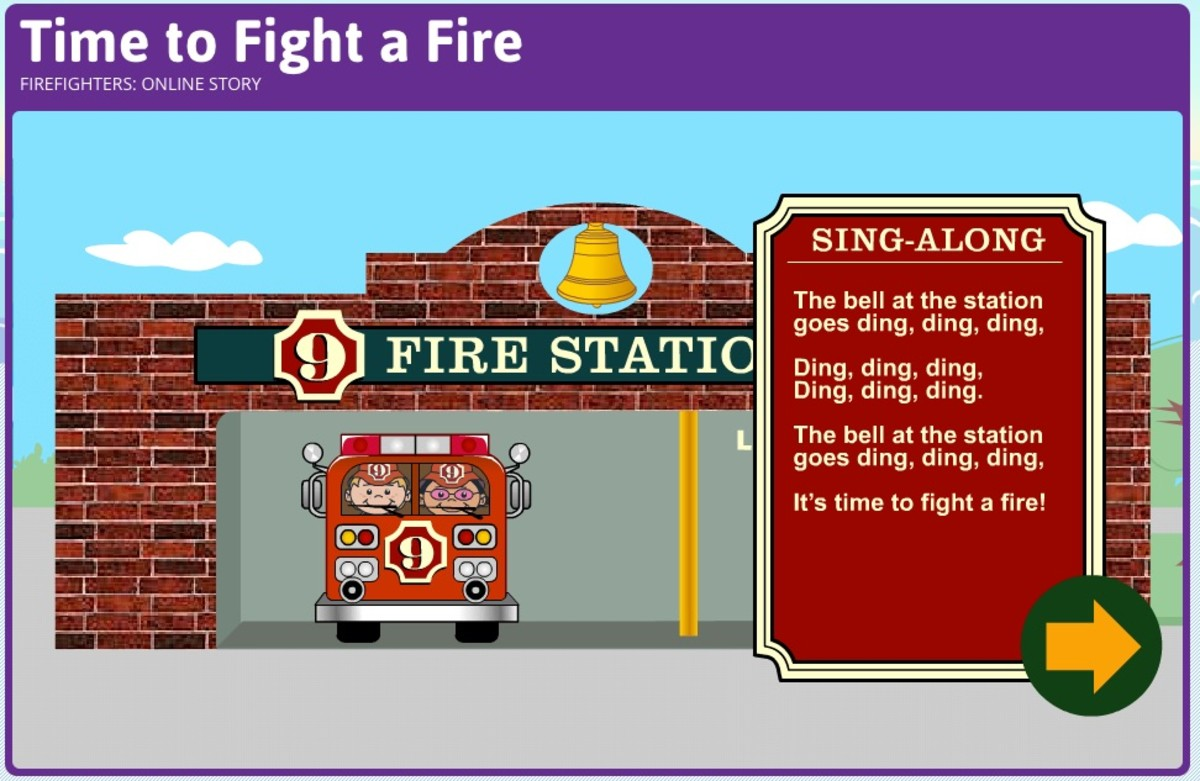 An example of the online story about firefighters at StoryPlace.