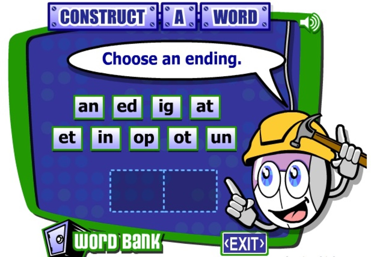 The Construct-a-Word game in action on the ReadWriteThink site.