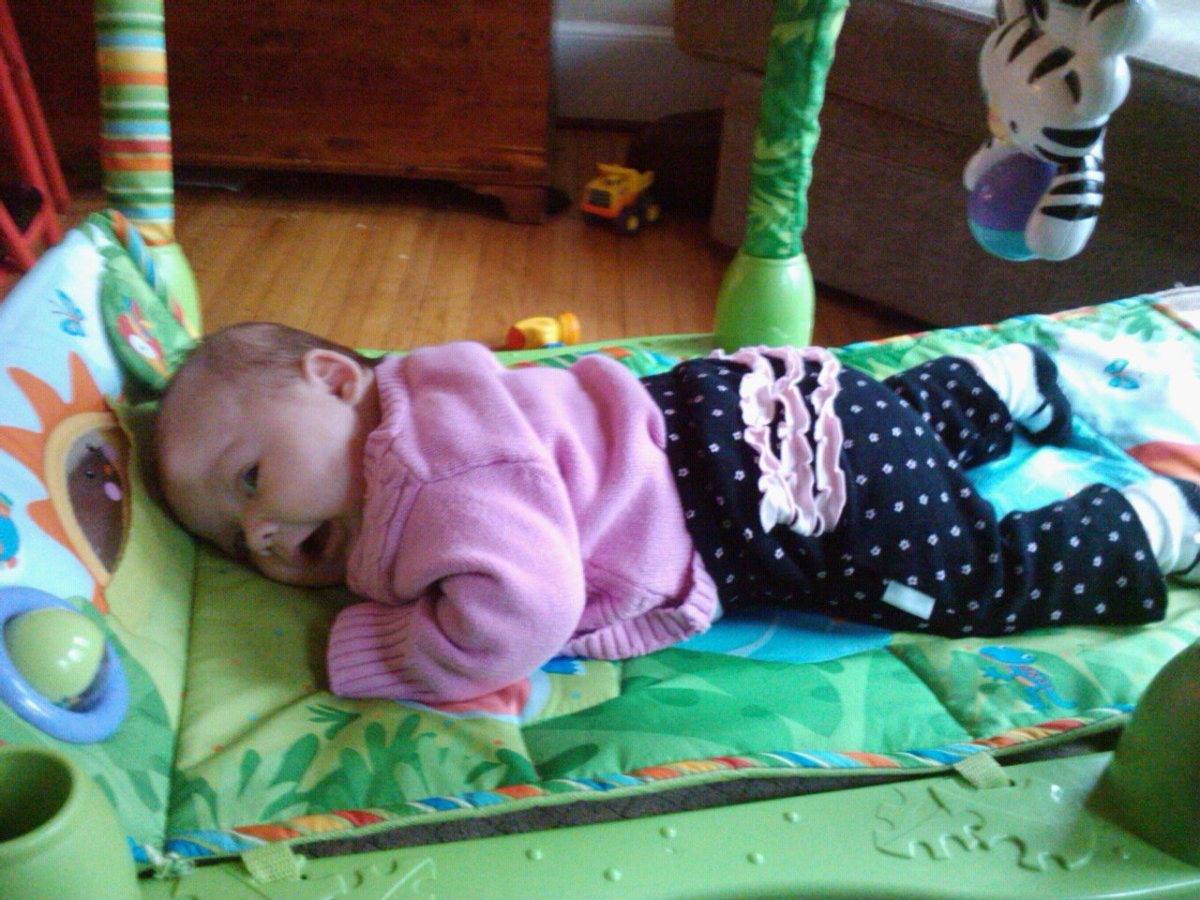 My daughter enjoying tummy time