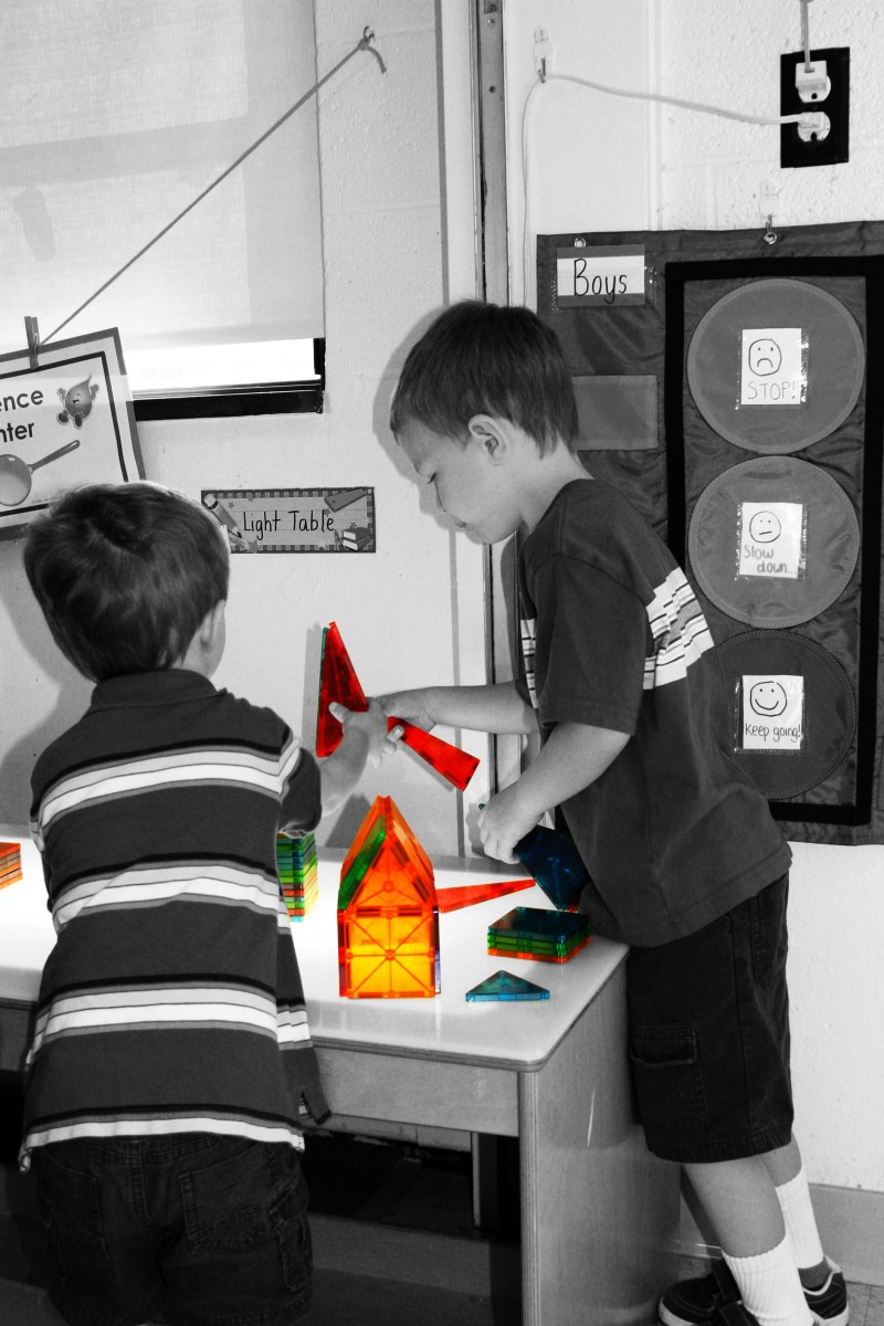 This center has many uses: the blocks develop spatial skills (pre-math), fine motor skills, and encourage social interaction.