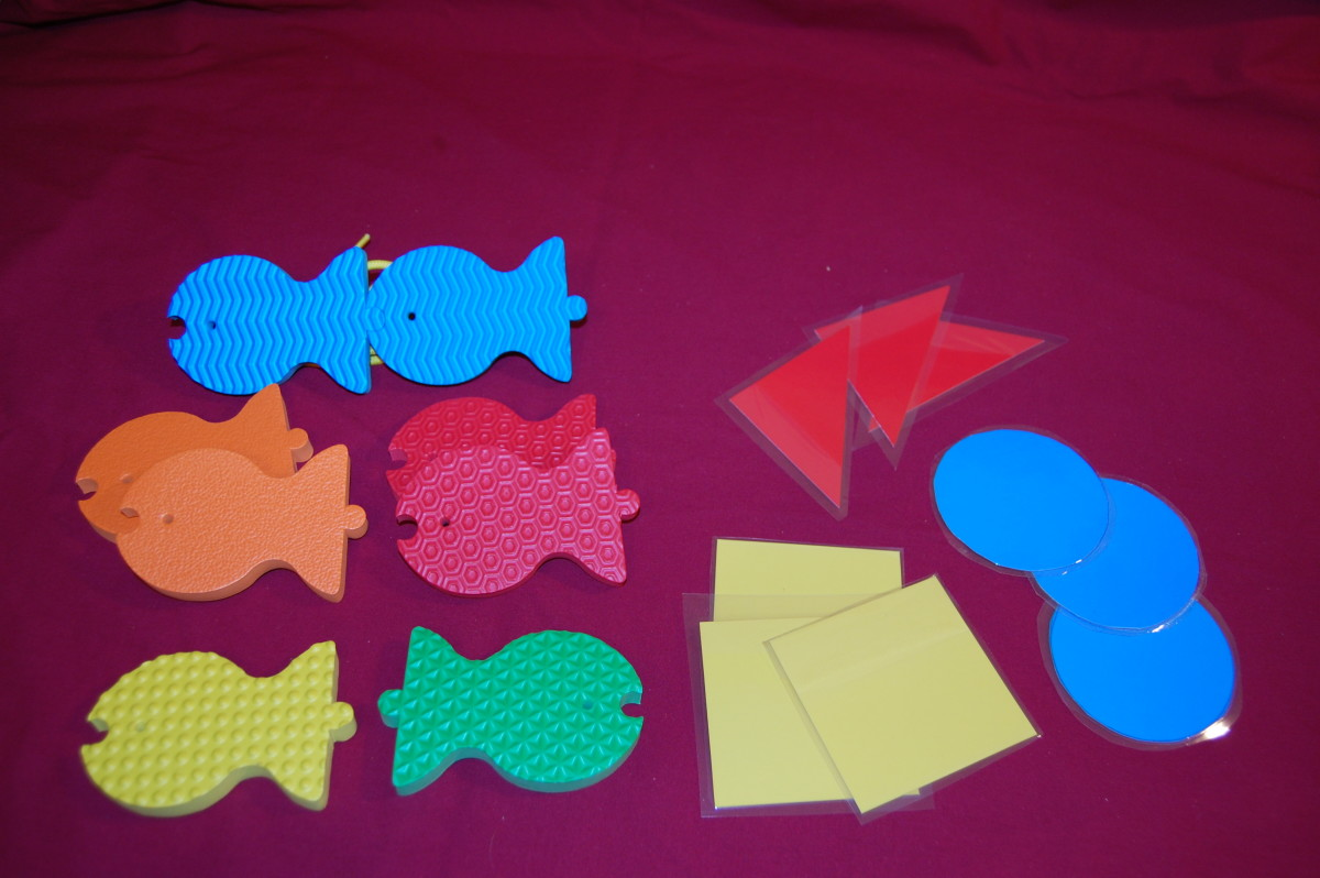 Sorting fish and laminated shapes by color