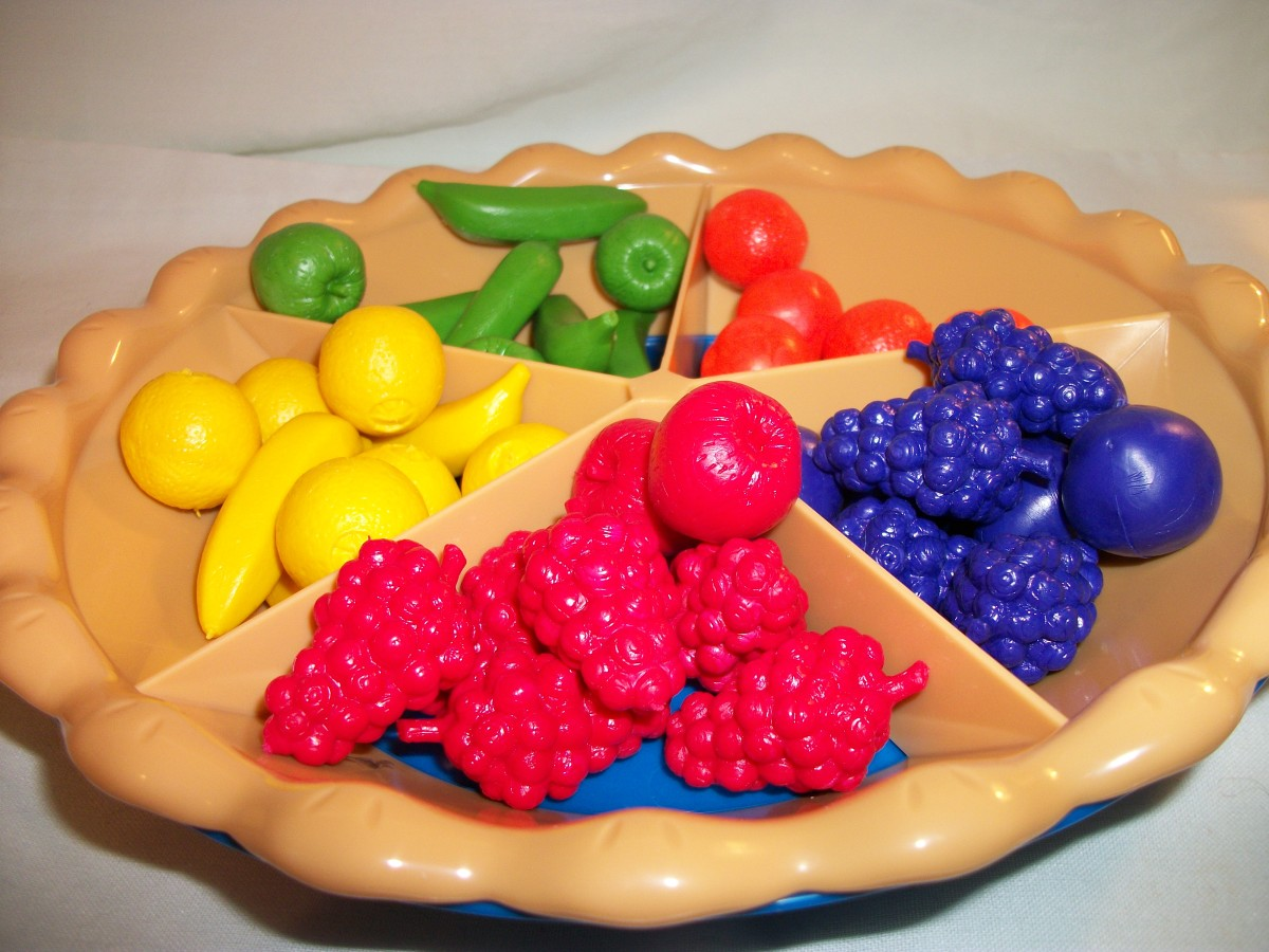 Sorting Pie- sort fruits into compartments according to color