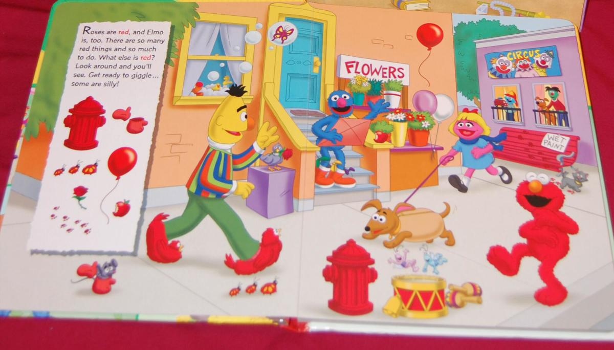 Elmo Look and Find Book at the bottom.  Look for items that are red, blue, purple, etc.