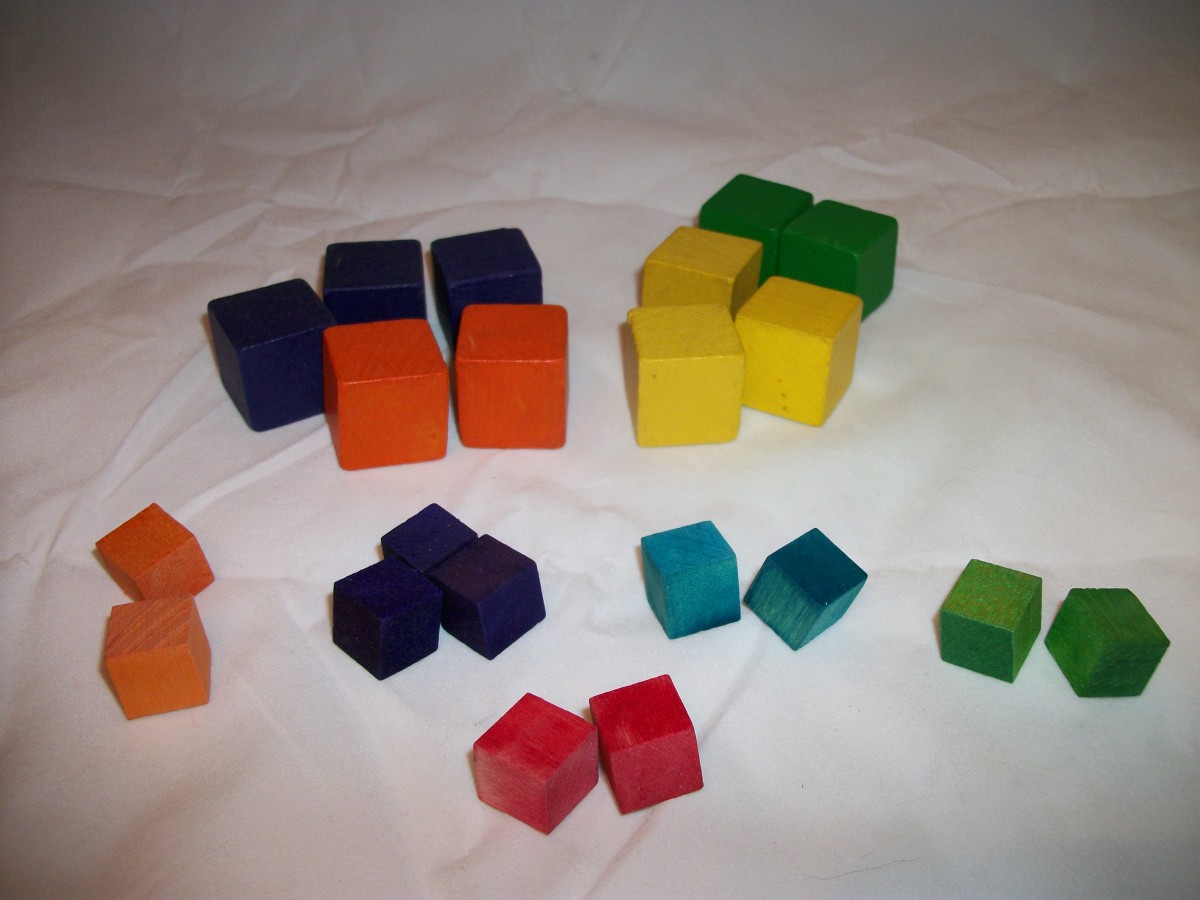 One-inch cubes and half-inch cubes sorted by color