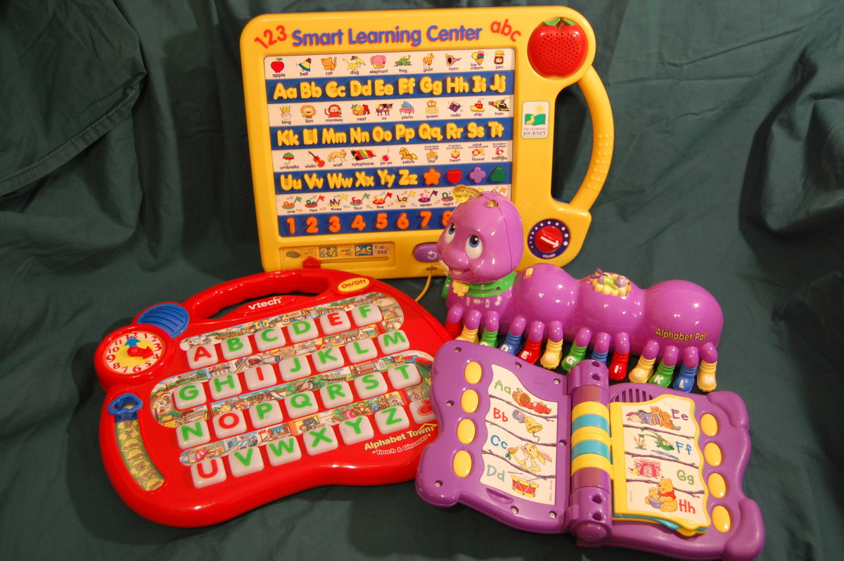 Electronic alphabet toys, including one by V-Tech