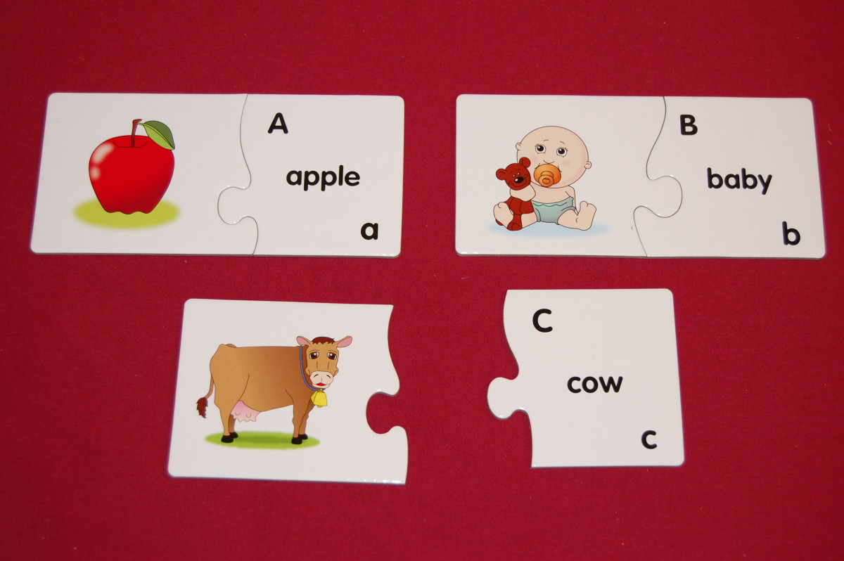 2-piece puzzles with upper- & lowercase letters, and word starting with that letter on one piece, and picture on other piece
