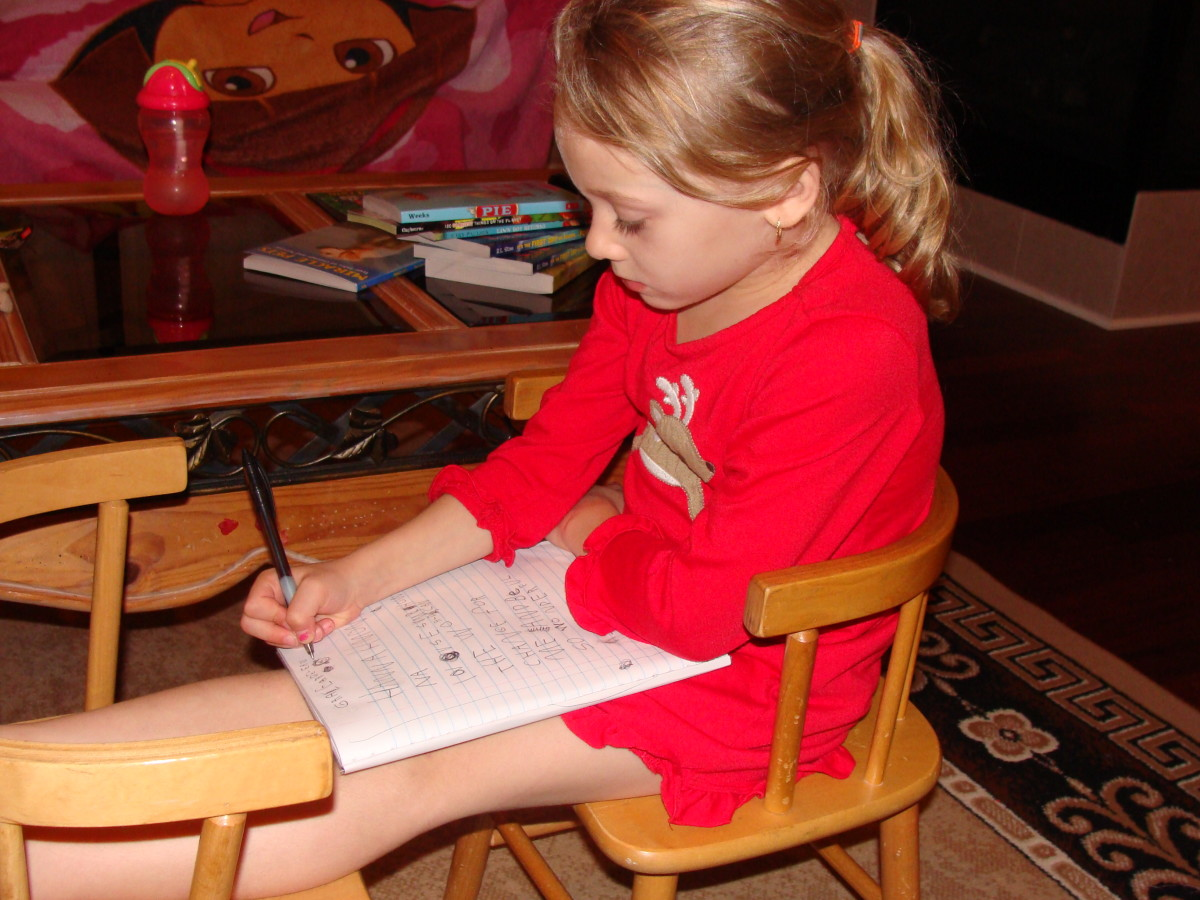 Grace is an eager writer and continues to seek out opportunities to write in her new notebook.