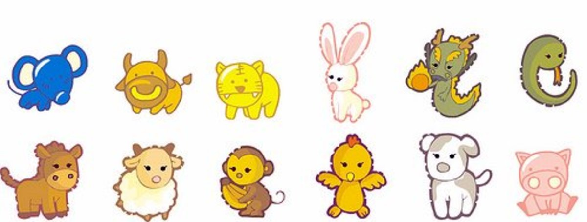 All twelve of the Chinese zodiac animals.