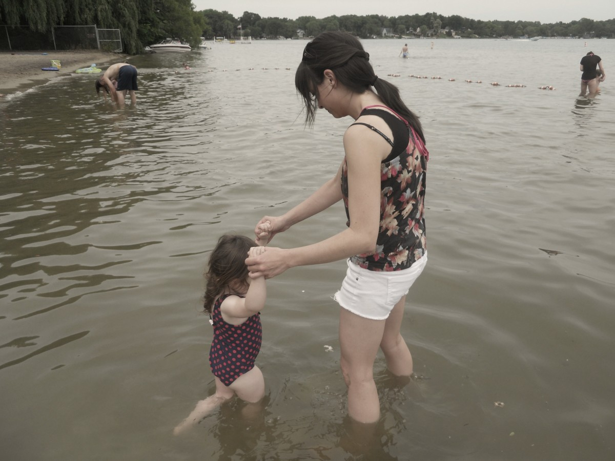 Nozomi (my daughter) and I playing in the lake.