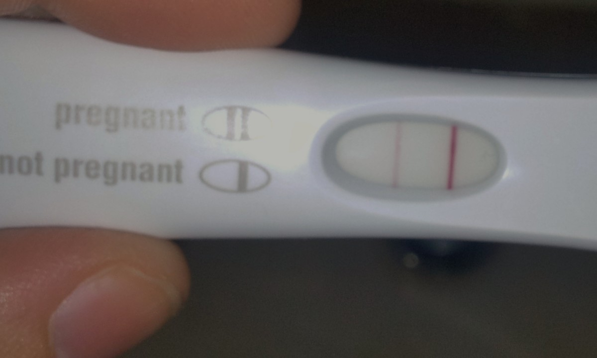 Positive result on a home pregnancy test.
