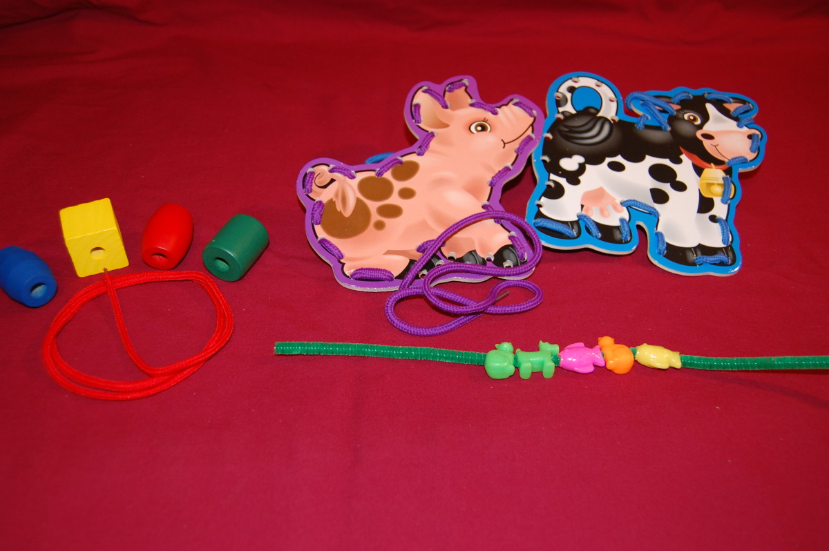 String beads on string or pipe cleaner with straightening movement of fingers, or lace in vertical position.