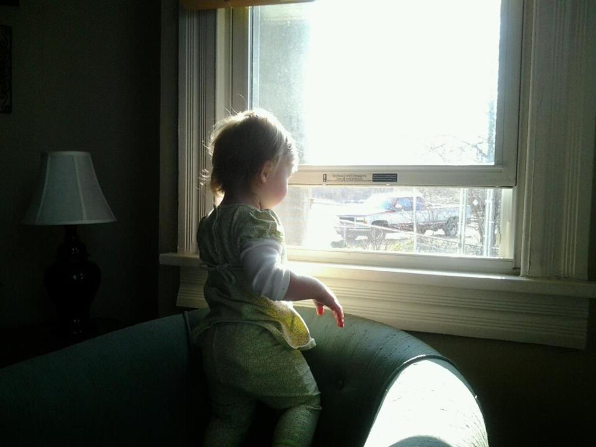 Be careful with open windows. Every year, quite a few toddlers are critically injured or killed when they fall out of an open window.