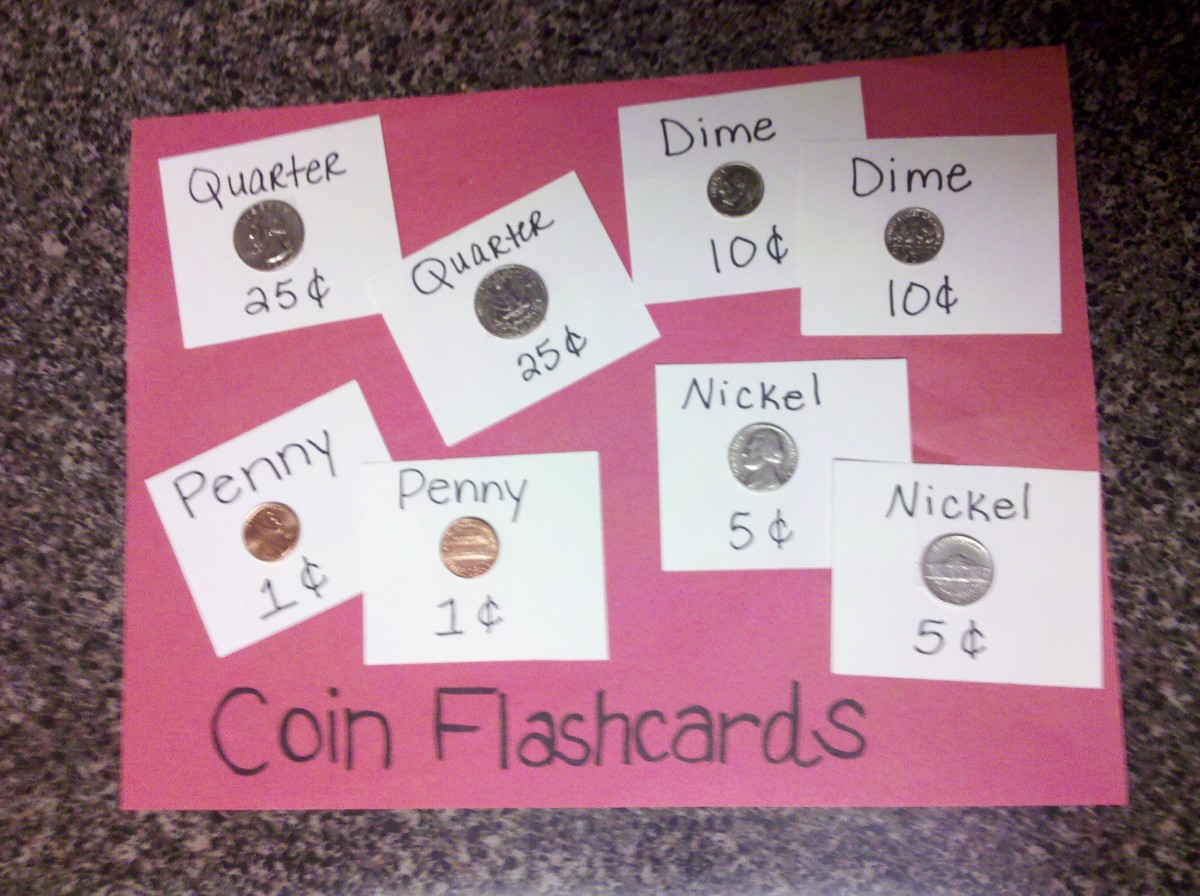 Our homemade coin flashcards!