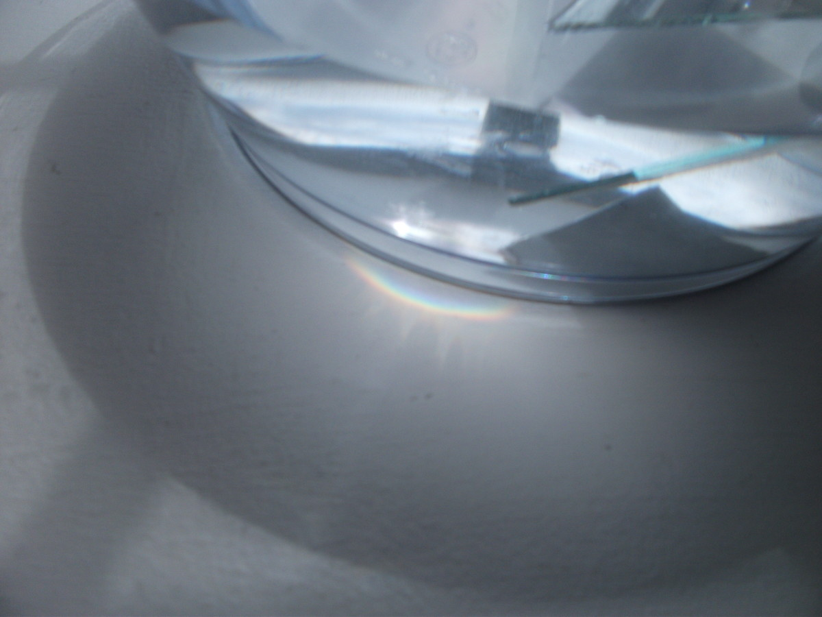 Look all around the bowl.  Rainbows could be in more than one spot.