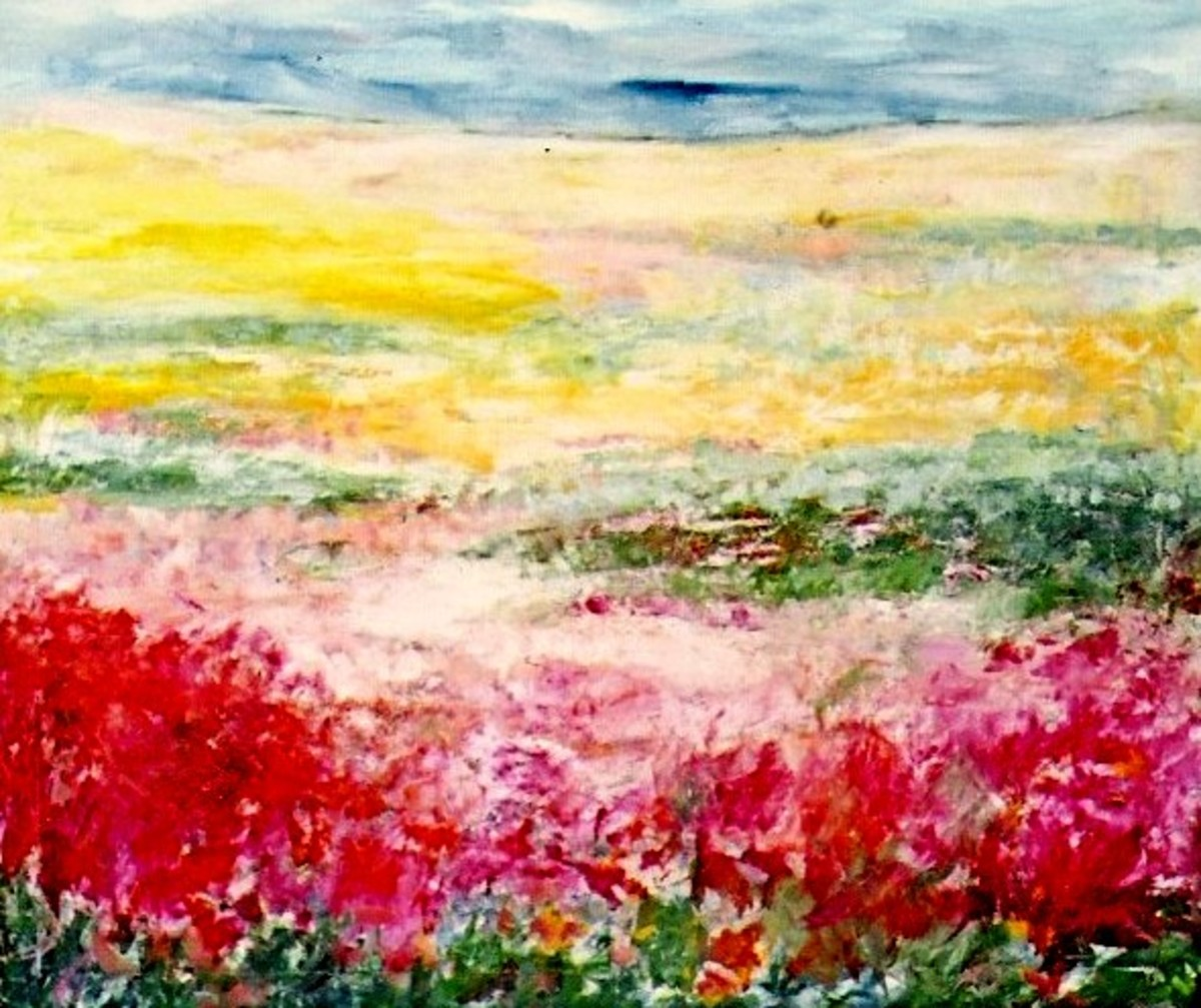 Painting by Dutch painter Marion Baars illustrating the variety of hues possible from mixing the three primary colors.