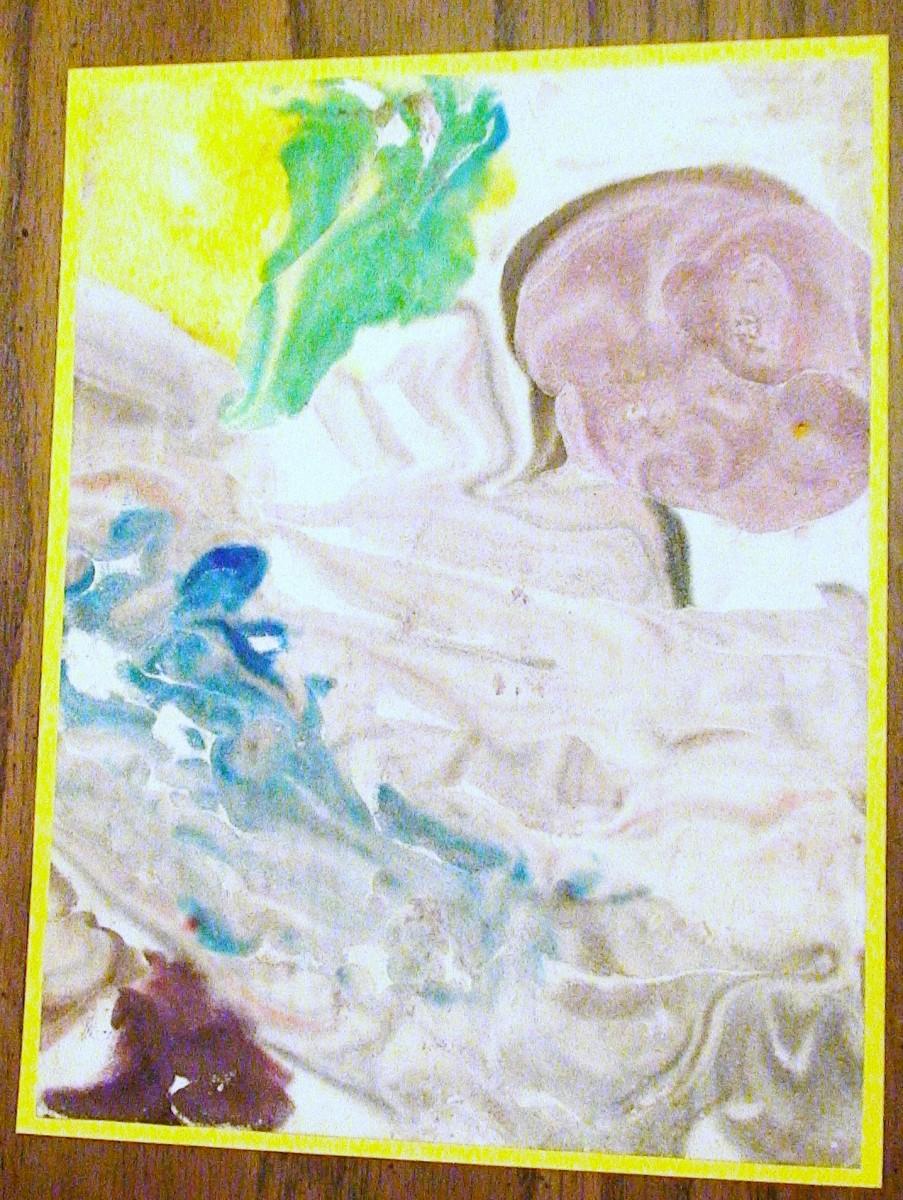 A framed Shaving Cream painting.