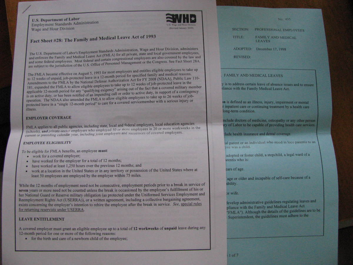 Forms such as these may be given to an employee by an employer. The blue sheet is an example of a company's proof of  compliance with FMLA and their corresponding guidelines.