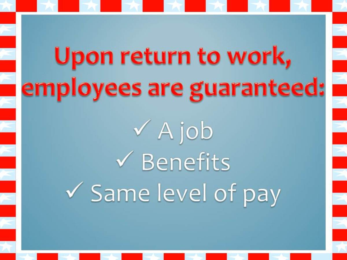 Under FMLA, eligible employees are guaranteed a job, benefits, and the same level of pay upon return.