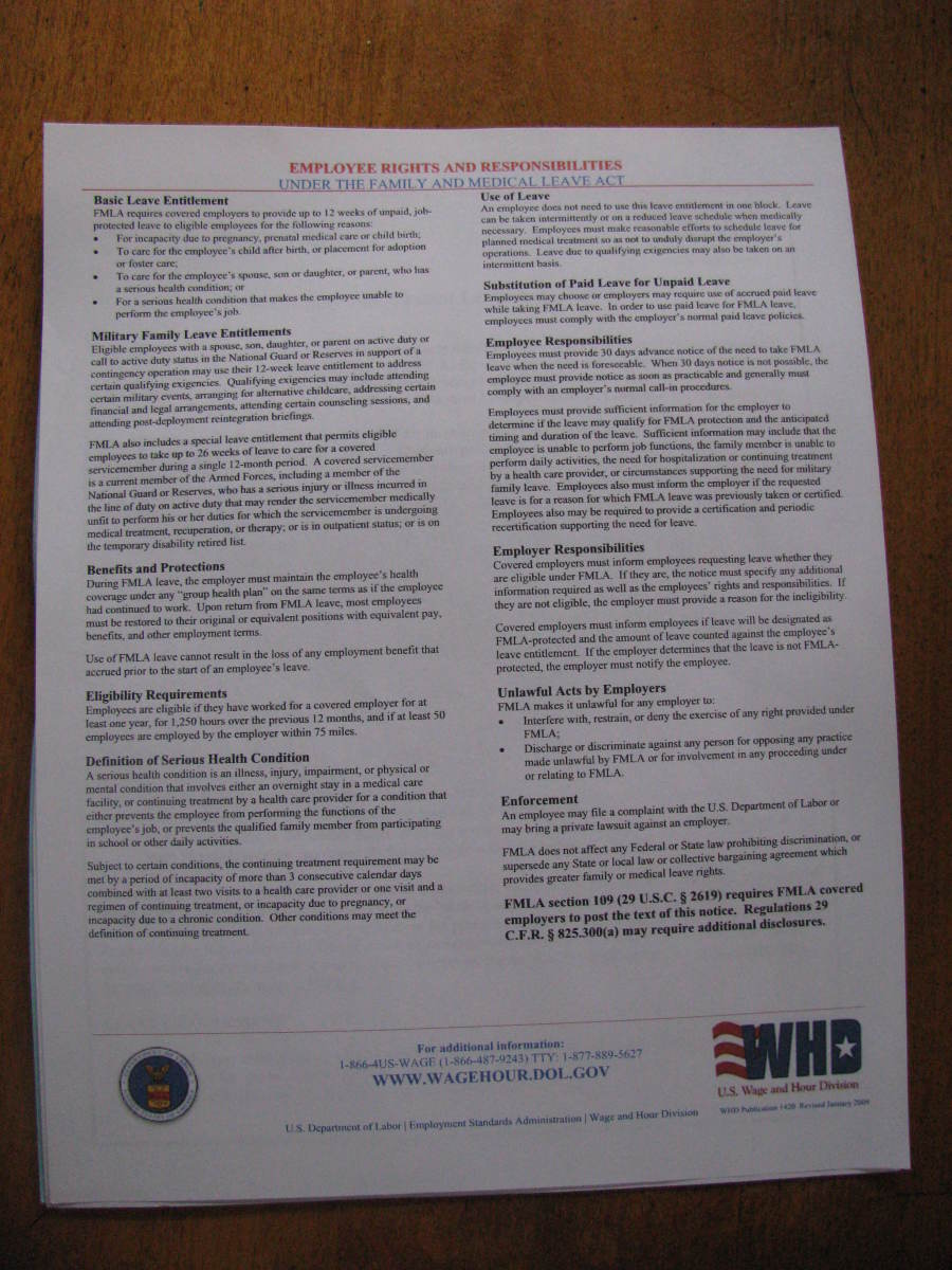 This is the poster that should be visible in buildings. A copy can be found at the U.S. Dept of Labor's website.