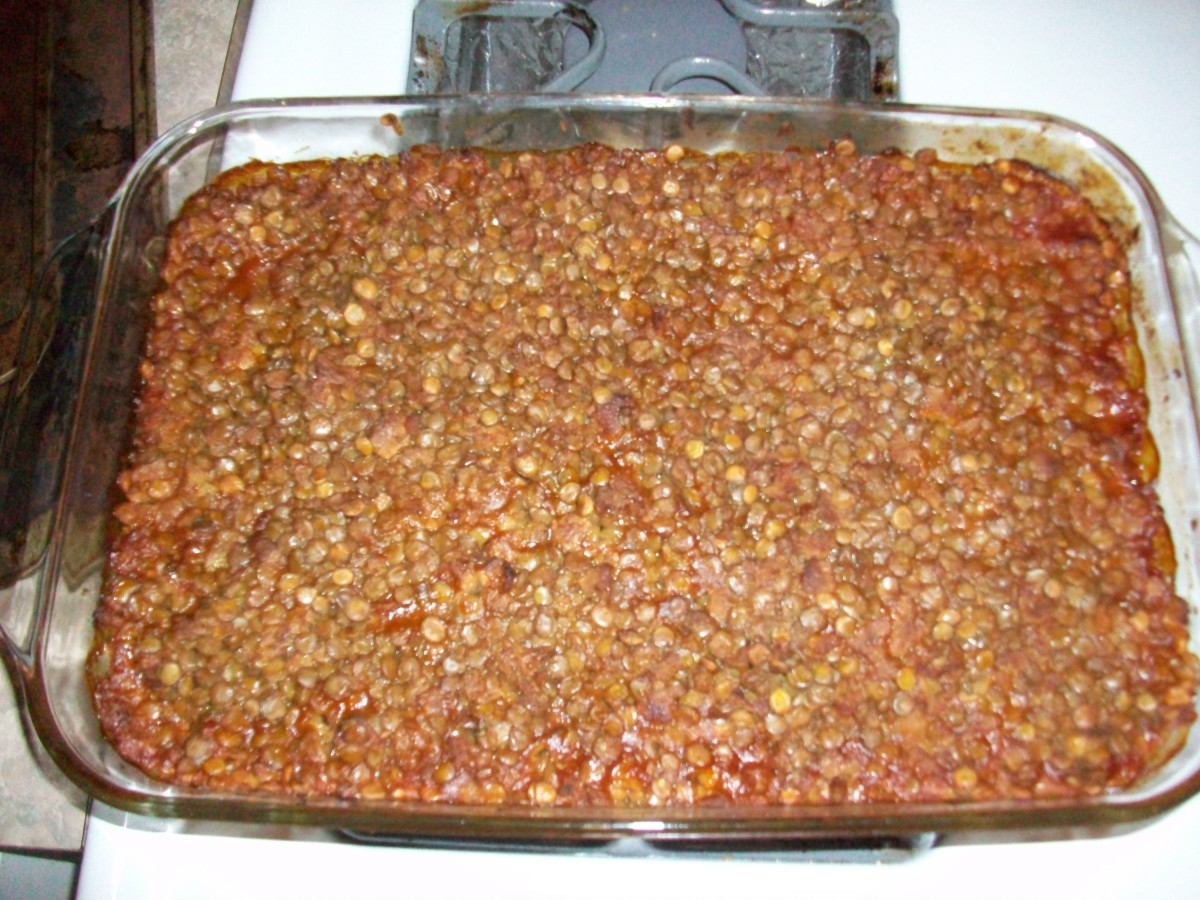 A finished pan of Lentils Ranchero, fresh from the oven.